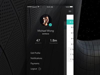 iOS Menu minimal clean black sporting gaming logout edit profile followers activity slide out menu ios