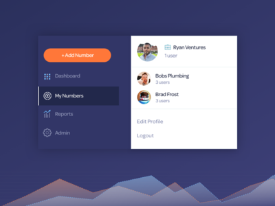 PhoneWagon - UI Components dropdown menu fullscreen menu navigation team account accounts user management orange blue messaging phone tracking phonewagon