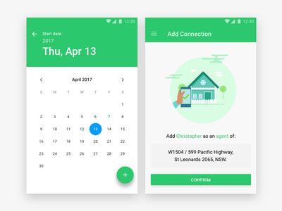 Calendar & Confirmation Material Design for Android minimal clean blue green simple calendar confirmation material design android