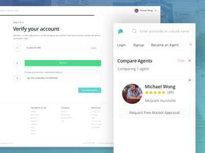Find yourself an Agent minimal clean ux ui account verify find an agent property compare platform agents real estate