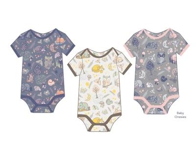 Woodland Slumber Onsies illustration illustrator patterndesign baby surfacedesign