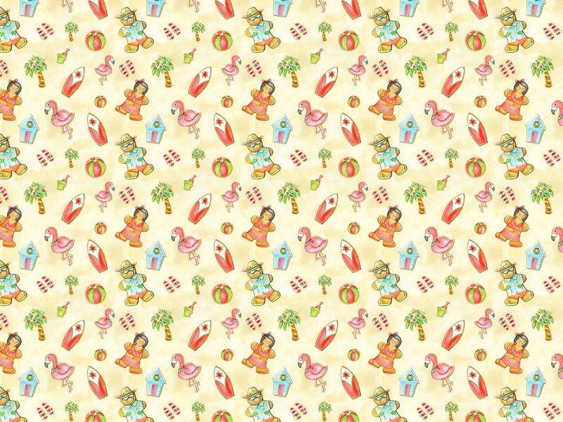 Beach Bum Cookie Pattern textile illustration holiday surfacedesign pattern cookie watercolor