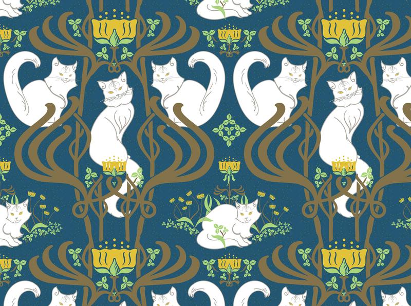 Cat Nouveau Pattern blue and white brown blue art nouveau illustrator digital illustration