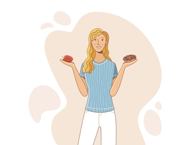 What would you have chosen? choose healthy food woman illustration woman flat design flat illustration character design character vector illustration illustrator illustration vector adobe illustrator
