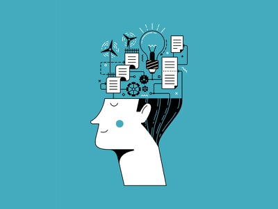 Operating mechanisms and schemes in our heads overthinking duotone mental health line art line psychology character man head mind flat illustration flat illustration vector ipad pro affinity designer