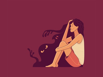 Scary monsters are only in your mind character design character night dark fear mental disorder afraid scary mental health monsters flat illustration adobe illustrator vector