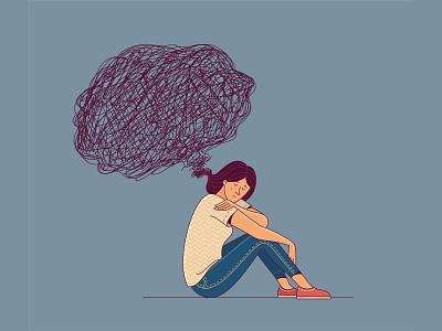 Overthinking alone loneliness depressed anxiety sad overthinking mental health mentalhealth flatillustration woman character flat illustrator illustration adobe illustrator vector