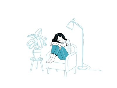Depression. Take care of yourself... loneliness depression linear illustration lineart woman illustration woman flat illustration flatdesign mental health flat illustrator illustration adobe illustrator vector