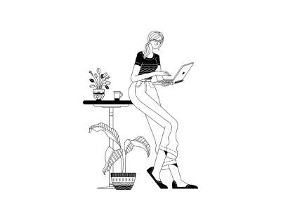 Home office workplace onboarding illustration monochrome outlined black and white illustration black and white blackandwhite duotone line art lineart laptop job work home office adobe illustrator illustration woman illustration character woman vector