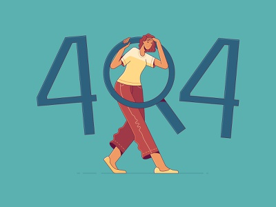 Page not found or 404 Error Page onboarding illustration 404page loupe magnifying glass looking for page not found 404 error page 404 error 404 page 404 design woman illustration flat illustration character woman flat illustrator illustration adobe illustrator vector