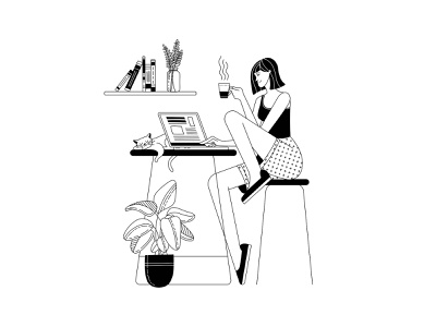 Work from home black and white blackandwhite workfromhome outlined outline line art lineart contour work laptop vector artwork vector illustration workspace vector art woman illustration character woman illustration adobe illustrator vector