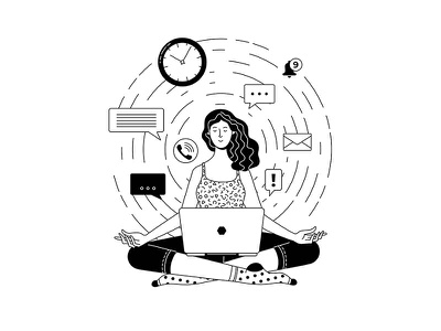 How to relax after a busy week busy vector artwork work from home lotus pose illustration workspace yoga laptop work contour outline lineart blackandwhite black and white illustration black and white line art mental health character woman vector