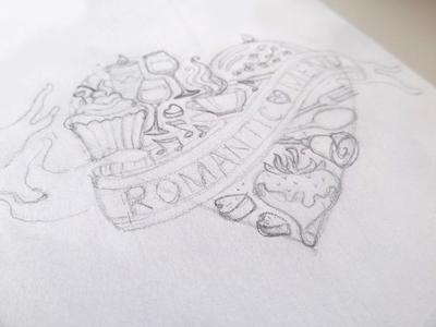 Romantic Menu. Sketch.