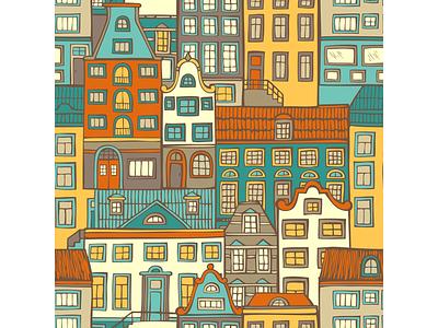 Seamless pattern of houses adobe illustrator city house pattern seamless