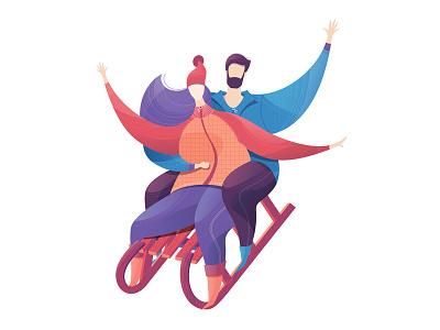 Time together winter man woman couple sled sledge sleigh sledding vectornator illustration vector adobe illustrator