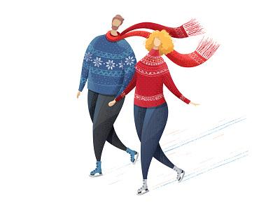 Ice skating valentines day procreate app woman man vectornator couple flat adobe illustrator cc stippled ice skating texture adobe valentine romantic 14 february illustration illustrator love vector adobe illustrator