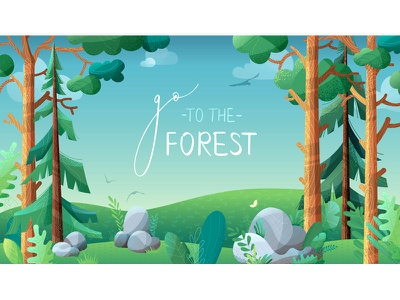 Dream of a summer vectornator nature background pine spruce fir coniferous trees meadow forest summer adobe illustration vector illustrator adobe illustrator