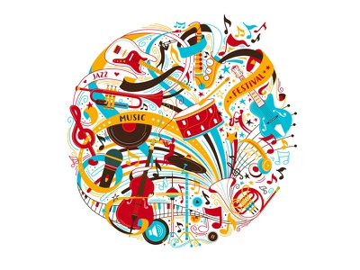 Keep Calm And Let The Music Play! french horn drums blues flat saxophone piano guitar violin doodle festival jazz notes adobe vector adobe illustrator music