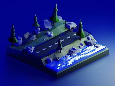 3D forest illustration graphic blender 3d art 3d