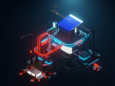 Futuristic gas station 3d artist 3dart blender illustration