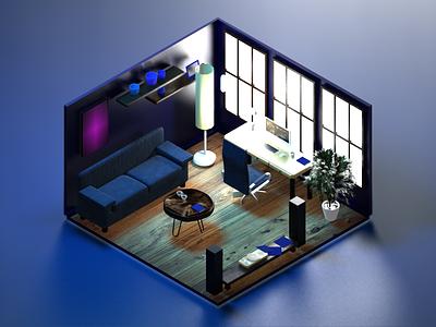 Stay at home ! office house blender illustration 3d 3d artist 3d art
