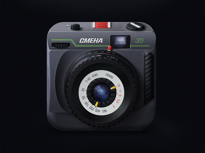 Smena 35 film Camera App Icon skeuomorphic icon film smena-35 app icon