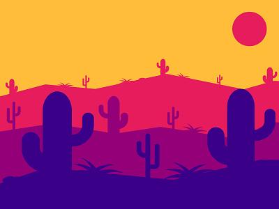 Desert landscape minimal simple flat desert vector landscape