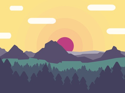 Mountains vector sunrise illustration color mountain