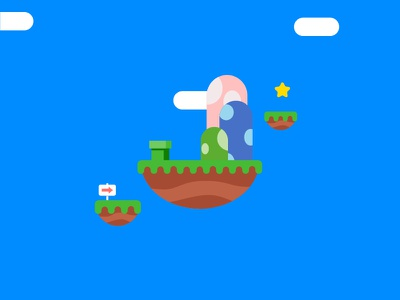 Super Mario World nintendo mario landscape vector