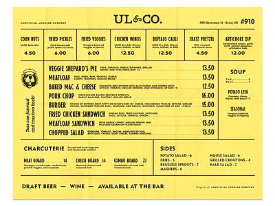 ULCO Food summer camp nostalgic pnw branding beer logging menu