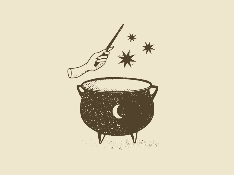 Witches Brew beer magic cauldron witch halloween illustration