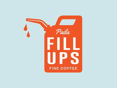 Fill Up! gas can coffee logo coffee coffee brand