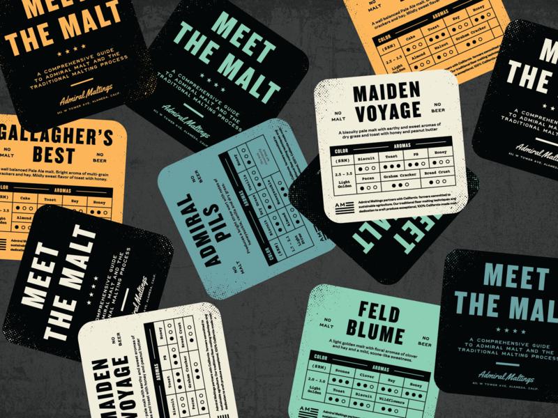Meet The Malt beer branding admiral industrial beer malt coasters