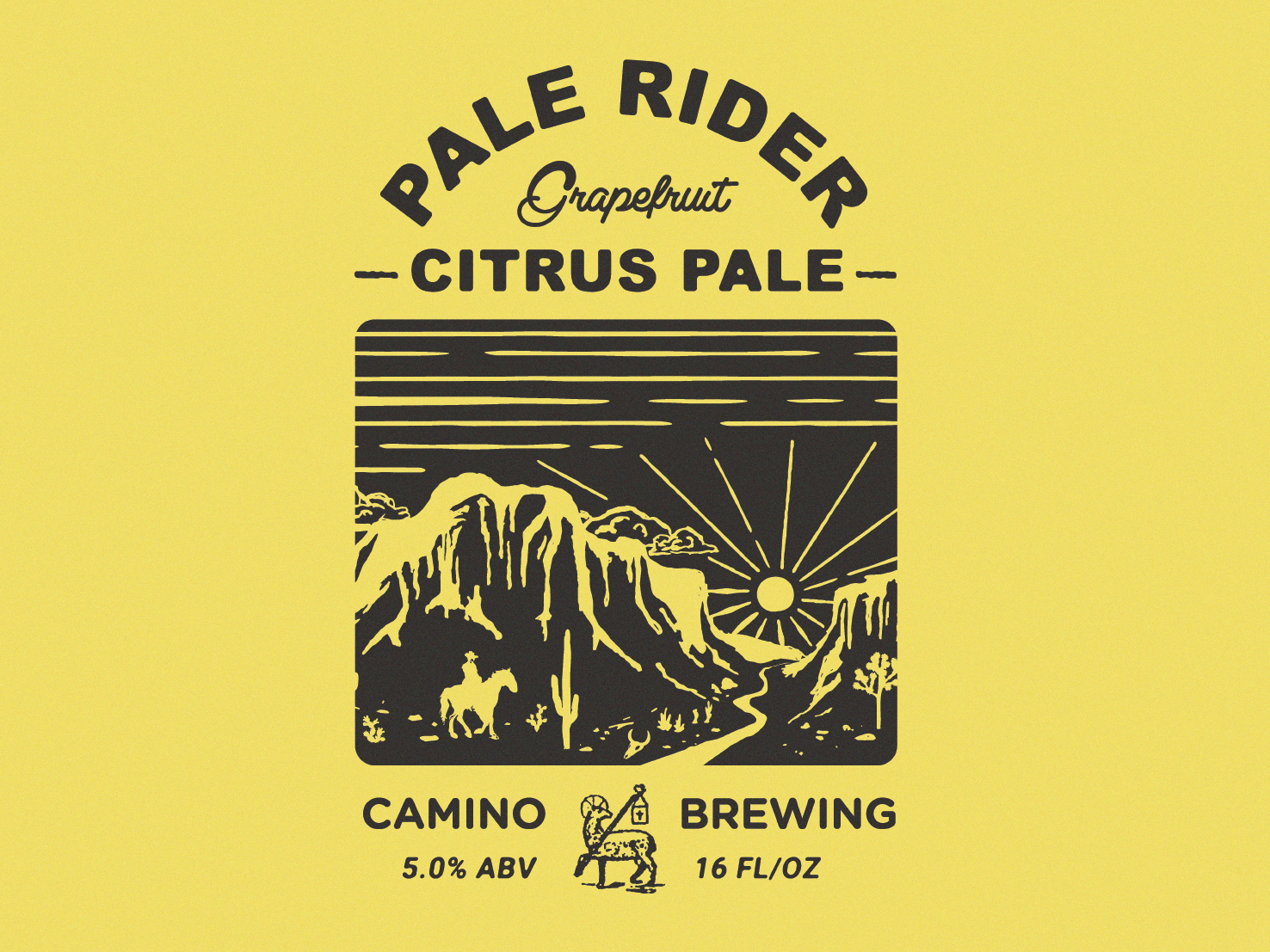 Camino Pale Rider camino desert southwest outdoors design illustration beer beer branding