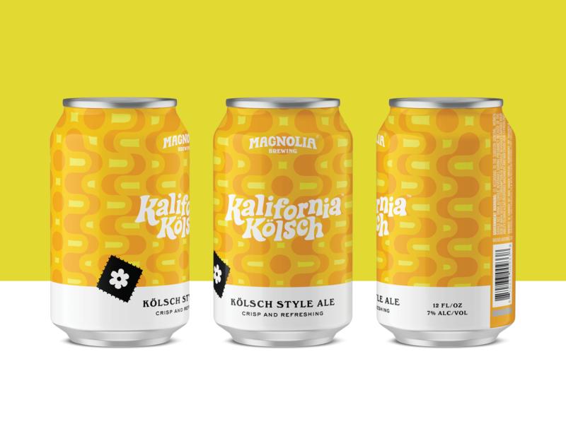 Kalifornia Kölsch packaging 60s mod groovy beer label can design beer branding beer