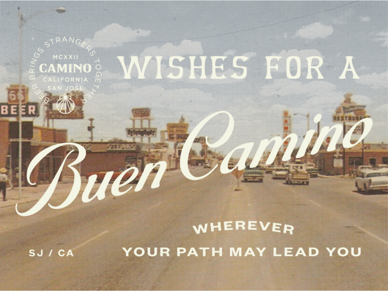 Wishes for a Buen Camino! branding can can design route 66 roadtrip 60s desert beer branding beer