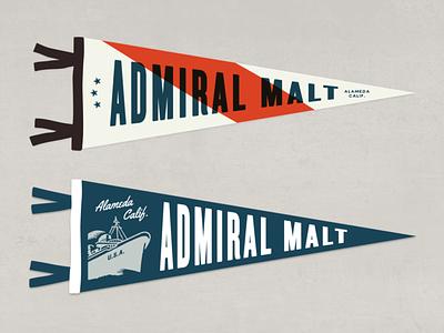 Admiral Pennants branding industrial vintage beer can malt admiral navy pennant