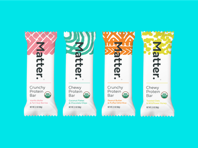 Matter. modern food organic branding snacks protein bar protein packaging westin mirner matter