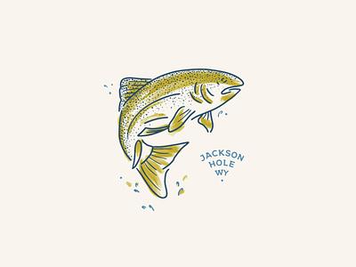 Little Fish ipad ai watercolor adventure outdoor tee fishing jackson hole wyoming tourism apparel illustration