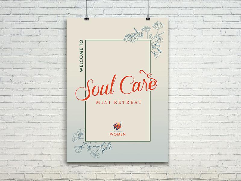 Soulcare Mini Retreat poster design drawn florals lettering