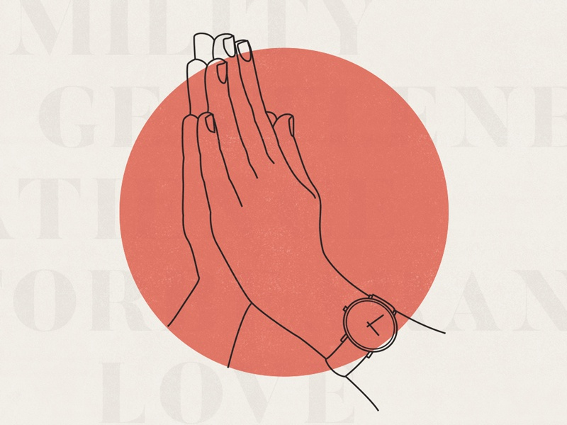 Praying Hand Modern Illustration illustration modern butler praying hands hand drawn a time for prayer icon