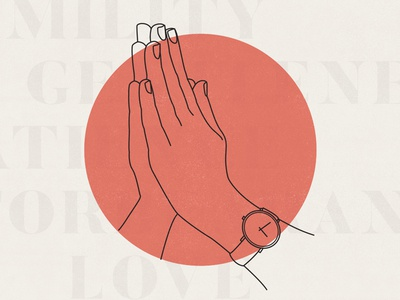 Praying Hand Modern Illustration