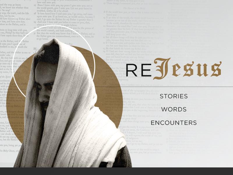Rediscover Jesus scripture typography sermon series collage vintage blackletter jesus