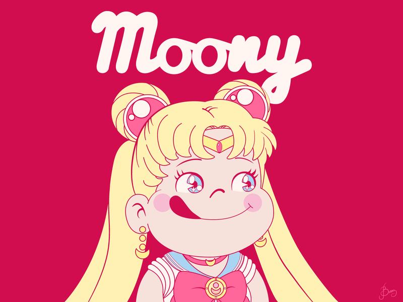 Moony sailormoon usagi pink peko-chan milky sailor moon characters character design design big eyes adobeillustrator adobe illustrator vector art vector illustration digital illustration