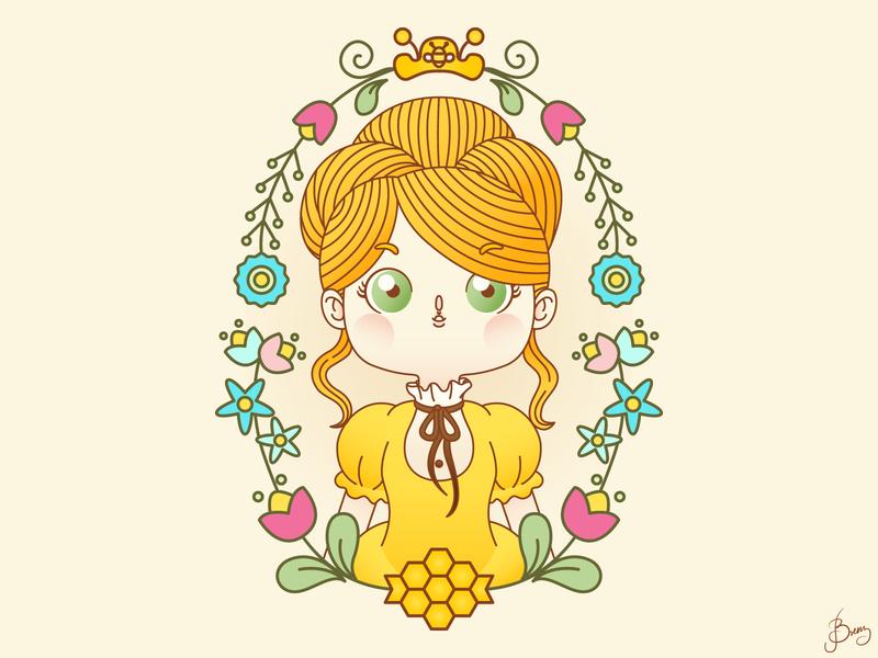 Queen Bee girl illustration kawaii cute queen bee queen bee girl character girl children book illustration character design design big eyes adobeillustrator adobe illustrator vector art vector illustration digital illustration
