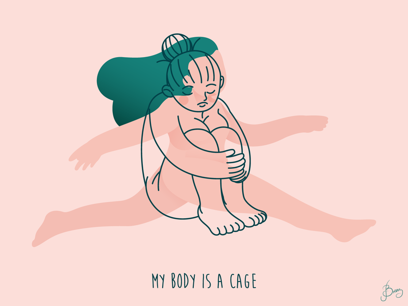 My Body is a Cage alone body freedom stay home stayhome girl pink character design adobeillustrator adobe illustrator vector art vector illustration digital illustration