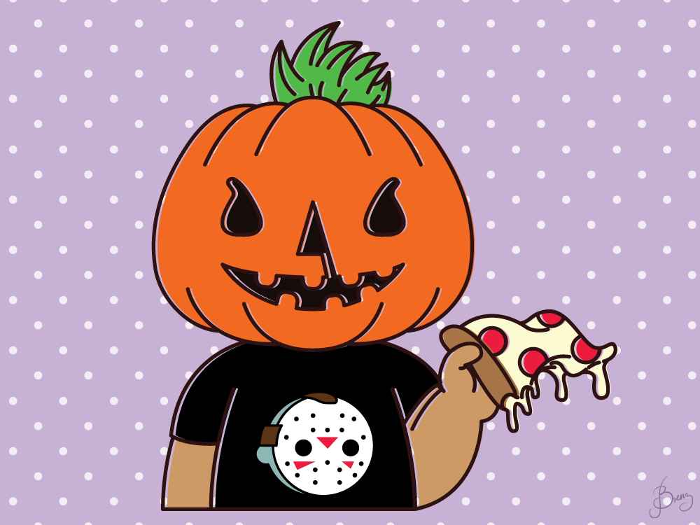 Pumpkinhead avatar adobe illustrator friday the 13th halloween jason pizza pumpkin illustration vector art vector digital illustration