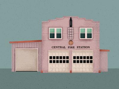Central Fire Station digital fire department firemen fireman pastel colors vector retro vintage illustration