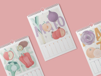 Calendario de frutas y verduras de temporada galicia winter autumn summer spring seasonal vegetarian vegetables fruits calendar pastel colors drawing retro digital vintage illustration