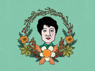 Dicen que no hablan las plantas - Rosalia de Castro woman writer galicia poem vector portrait nature illustration graphic design flowers cute character art